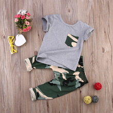 2017 children fashion summer baby boys girls clothing sets bow 2pcs camouflage sport suit clothes sets boys girls summer set(China)