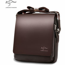 Genuine PU Leather Shoulder Leisure Handbag Kangaroo Men's Zipper Brand Bags Business Messenger Briefcase Laptop Man Purse
