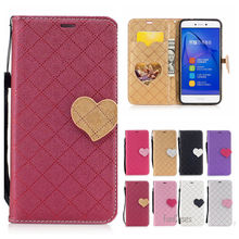 Fashion Heart PU Leather Case For Huawei Ascend P8 Lite 2017 Wallet Flip Cover For Huawei Honor 8 Lite 2017 Telefoon Hoesje Capa(China)