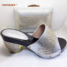 PU Leather Silver Dinner Fashion Shoes and Matching Bag Set Free Shipping African Woman Shoes And Bag Set For Evening Party(China)