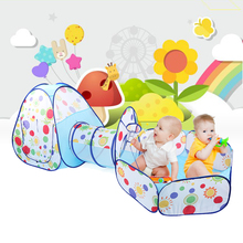 Foldable Children Tent Pool-Tube-Teepee 3pc Pop-up Play Tent Toy Tunnel Kids Play House Ball Pool Playhouse with Tunnel Kid Tent