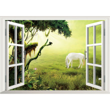 Outside window fine Horse creative wall stickers Grassland scenery 3d vinyl decals home decoration living room art wallpaper