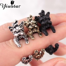 Yiustar New Arrival Vintage West Highland Yorky Terrier Rings Streched Animal Yorkshire Puppy Dog Rings for Women DWJZ339