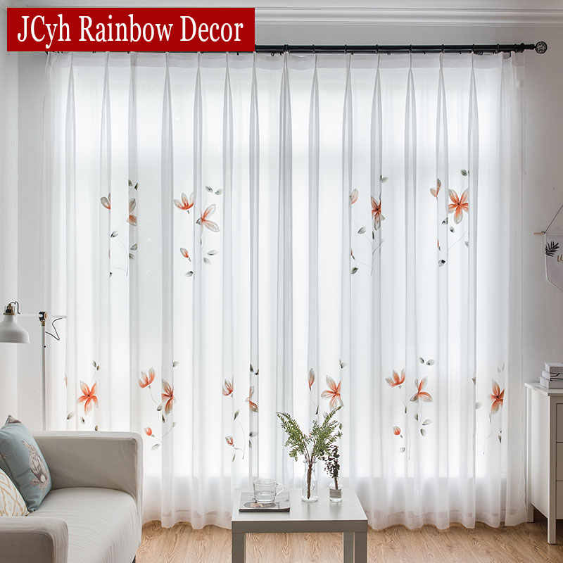 Modern Chiffon Handwork White Tulle Curtains For Living Room Bedroom Organza Sheer Curtains For Window Voile Curtain Cortinas