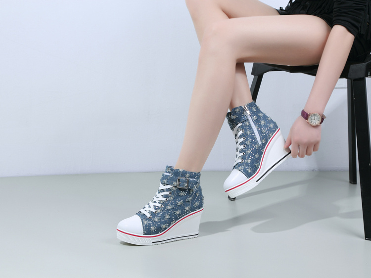 2017 Spring Women Canvas Shoes Platform Lace Up Wedge Heels 8cm For Ladies Denim Jean Casual Shoes Z844 tenis feminino Plus Size