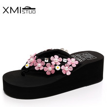 XMISTUO Summer Women Platform Flip Flops Female Beach Slippers 5.5CM High-heeled Slippers with Flower Sandal 2 Color 7113W