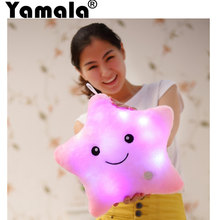 [Yamala] 35*38 cm Luminous pillow Christmas Toys, Led Light Pillow,plush Pillow, Hot Colorful Stars,kids Toys, Birthday Gift