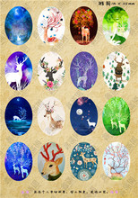 (16 pieces/lot) 18*25mm oval pattern cabochons mix deer/owl/girl/cartoon/flower image glass cabochon blank pendant cover xl8736