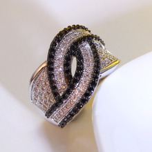 Free postage Cocktail party ring Unique design Exaggerated look Black and white color zirconia stones ring