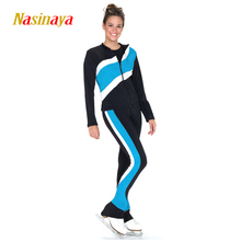 Costume Customized Ice Skating Figure Skating Suit Jacket And Pants Skater Warm Fleece Adult Child Girl Blue White Sprints(China)