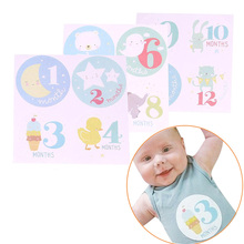 1 Set Fashion Personalized Baby Girls Boys Monthly Stickers 1 to 12 Months Baby Shower Lable Party Decoration Wholesale(China)
