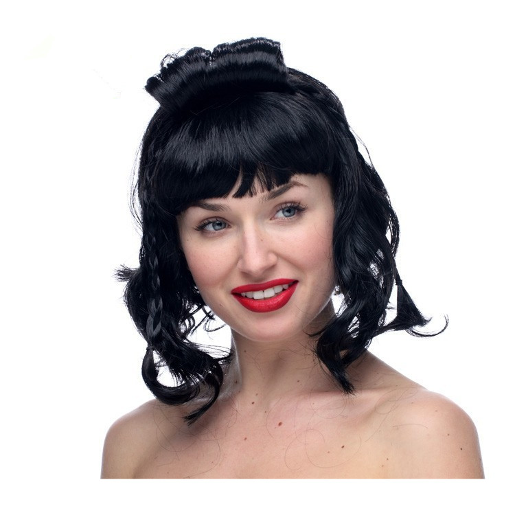 2016 Hot Sale Free Shipping Retro Sweet lovely Short Wigs 100% Polyester Black Asian Lady Wig with braid For Women<br><br>Aliexpress