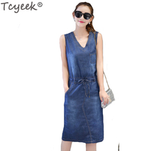 Tcyeek Spring denim Women's Clothing Large Size Package Buttocks Dress Fashion V-neck Waistcoat Slim Dresses S-3XL LJJ096(China)