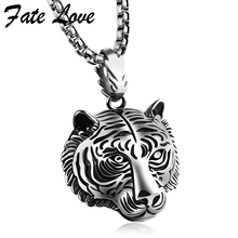 2017 Tiger Necklace Men Hip Hop Jewelry Collares Collier Stainless Steel Necklaces Pendants Anime Mens Jewellery Friendship Gift