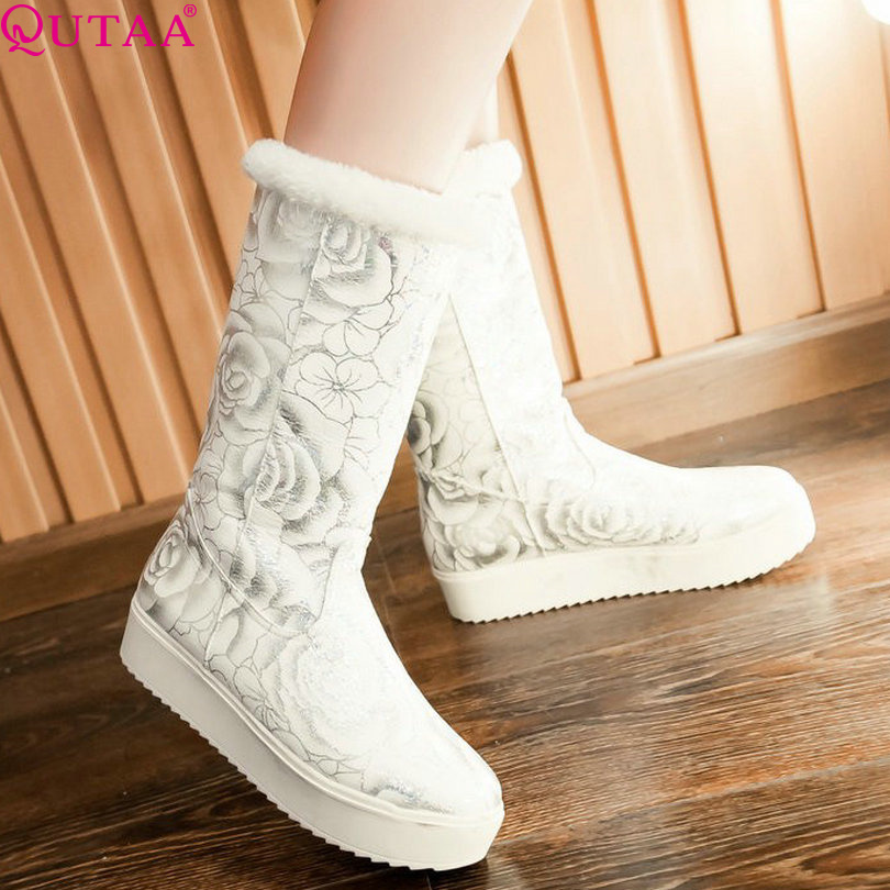 QUTAA Blue Ladies Fashion Shoes Printing Leather Flat Heel Women Snow Boots Elegant Winter Woman Mid Calf Boot Size 34-39<br><br>Aliexpress
