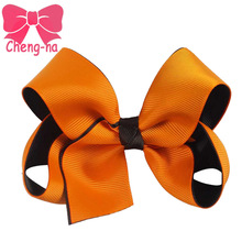 "4 "" Halloween Baby Girls Hair Bow With Clip Toddler Infant Solid Hair Bows Children Hair Accessories  6Pcs/lot"