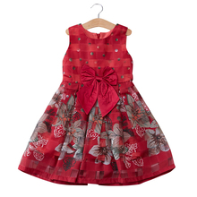 6T kids girls red purple vintage flower big bow sleeveless summer princess party dresses children fashion formal dress