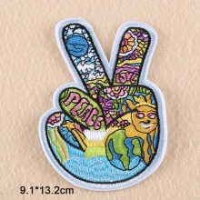2017 New Arrival Peace Hand Fingers Iron on Novelty Embroidered Clothes Patches For Clothing Boys Man Girl Punk Patches(China)