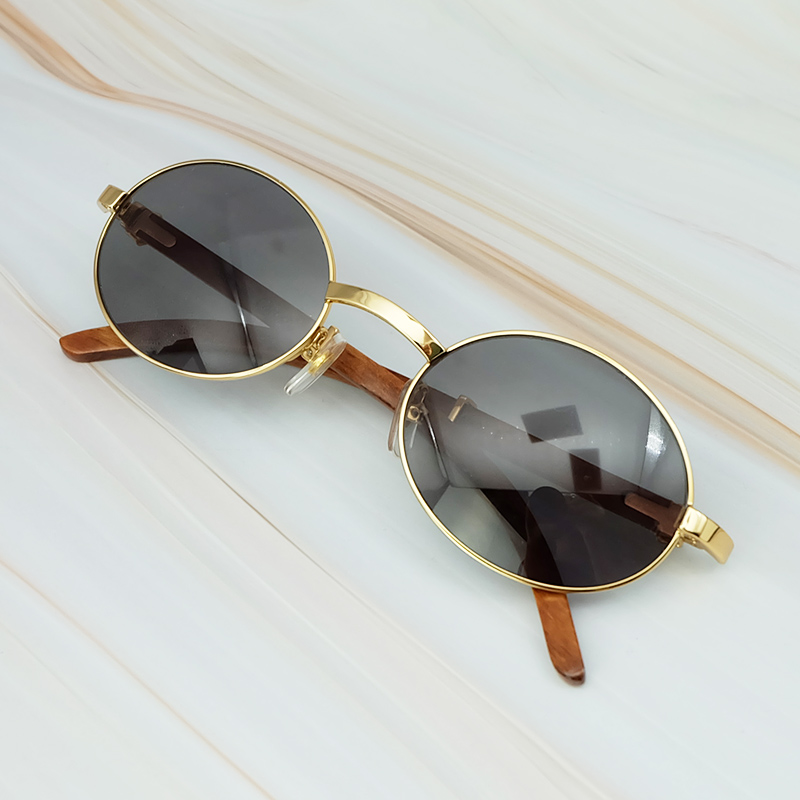 Round Metal Clasic Oval Sunglasses Full Frame Gold General Wood Glasses Men And Wen Eyewear (6)