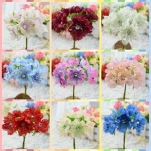 artificial flowers new hot fake flowers simulation flowers with diamond plum cherry peach silk flower garlands material diy hand