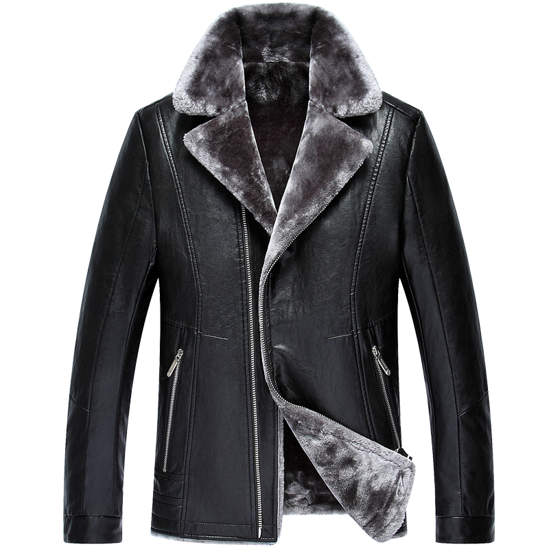 New arrival winter PU leather men's warm coat jacket middle-aged Gifts high plus velvet fashion plus size M L XL 2XL 3XL