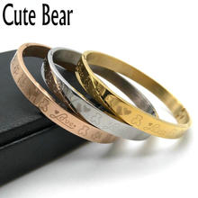 Cute Bear Brand Pure Manual Polishing Carving Animal Stainless Steel Bangles Fashion Cuff Bracelets & Bangles For Women Jewelry