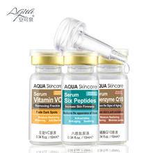 Skin care Vitamin VC serum and Six Peptides Serum and coenzyme Q10 serum Acne Treatment Whitening Face Care Ageless Beauty(China)