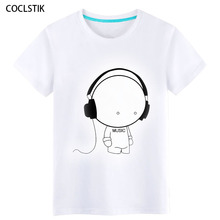 100% Cotton Childrens/Men's Summer Anime White Music Boy T Shirt Streetwear Male Tshirts Personality Fitness T-shirts Tops S-5XL(China)