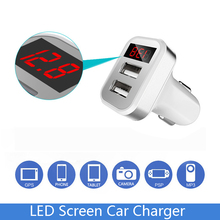 Car Charger for iPhone iPad Samsung 2 Port USB LED Screen Smart Auto Car-Charger Adapter 2A Mobile Phone Charging usb charger