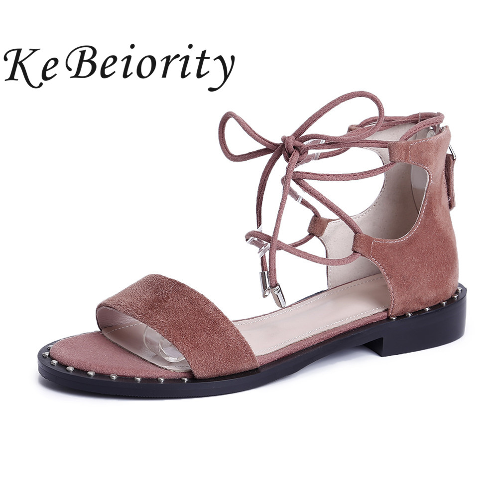 KEBEIORITY Women Sandals 2017 Wedges Summer Shoes Gladiator Sandals Women Open Toe Lace Up Leather Flat Sandals Female<br>