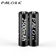 PALO 2pcs AA Battery Batteries 1.2V 2a AA 2500mAh Ni-MH Pre-charged Rechargeable Battery 2A Baterias for Camera