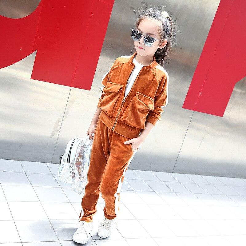 fleece kids tracksuit girls clothes sports suits autumn coat pants children clothing sets for little teenage girls 2 pcs sets<br>