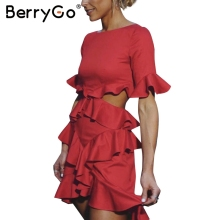 Buy BerryGo Elegant backless sexy dress women 2017 Ruffle flare sleeve winter party christmas dress Red dress girl vestidos de festa for $19.99 in AliExpress store