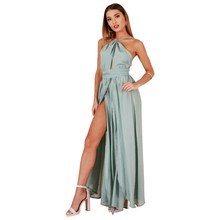 Buy Asymmetrical chiffon Halter long dress Women strap v neck split beach summer dress Sexy backless maxi dresses vestidos