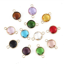 New Design 10mm Gold Color Crystal Birthstones Connector Charms Gem Stone For Jewelry Making DIY 20pcs(China)