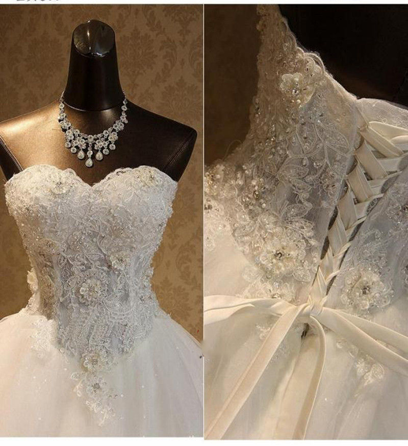 Luxury Wedding dress 2018 Lace Appliques Crystals Sparky Ball Gown Robe de Mariee Princess Wedding Gowns Lace 3D Flowers dress