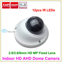 Lihmsek Free Shipping CCTV AHD Camera 1.3 Megapixel 960P IR Dome Camera Security 12pcs IR Leds Miniature Video Camera(China)