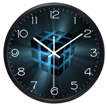 Brand Modern Fashion Design Reveals A Blue Light Cube HD Picture Wall Clock Technology Imagination Clock
