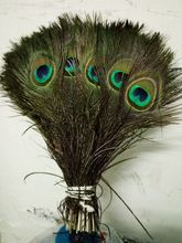 "New! 50 pcs / lot of beautiful peacock feathers 10-12 ""/ 25-30cm DIY weddings, reunions, family, earrings accessories.19 colors(China)"
