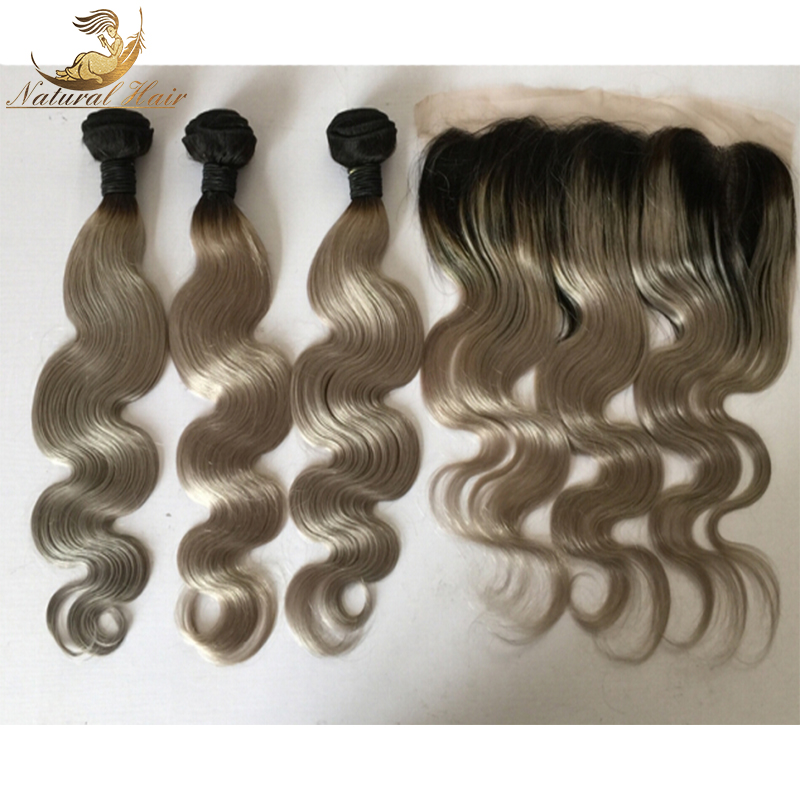 Gray Ombre Hair With Closure 1Pcs Lot 1B Silver Grey Dark Root Ombre Body Wave Two Tone Human Hair Bundles With Lace frontals<br><br>Aliexpress