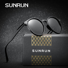 SUNRUN Vintage Brand Designer Polarized Sunglasses Round Retro Rivet Frame Sun Glasses Eyewear For Men Oculos De Sol P6046(China)