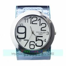 100pcs/lot womage-9027 Womage brand big dial big number watch wrap quartz men casual watch wholesale price watch