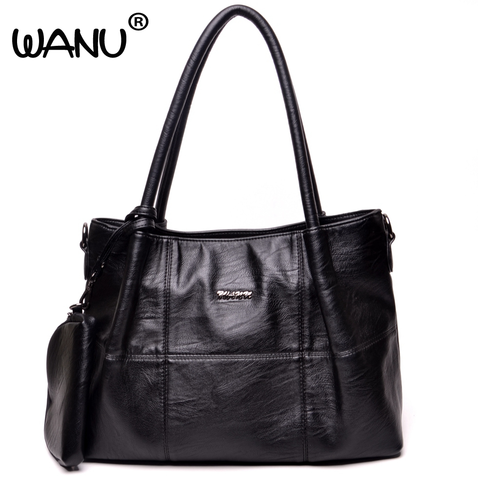 WANU Leather Luxury Handbags Women Shoulder Bags High Quality Crossbody Bags Casual Black Bag for Women Female Ladies --3 Bags<br>