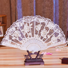 Top Grand 1PC Multi-Color Dance Party Wedding Lace Flower Folding Hand Held Flower Fan Dorp Shipping