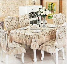 European luxury 3D jacquard Lace floral tablecloth set suit 150*200cm table cloth matching chair cover 1 set price 3colors(China)