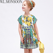 W.L.MONSOON Girls Summer Dress Robe Mariage Fille 2017 Brand Kids Costumes Girls Dresses Flower Printed Princess Dress Children