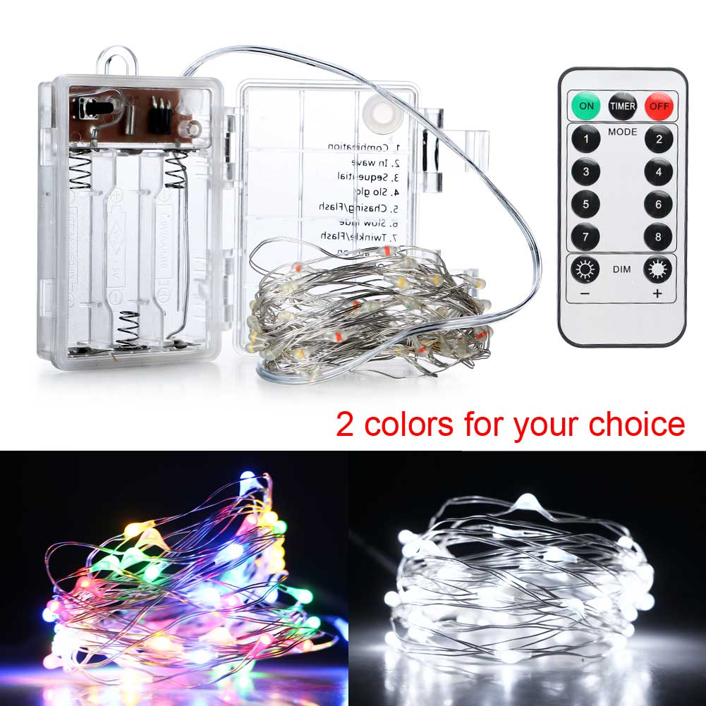 Waterproof 5M 50 LED 3XAA Battery LED String Lights Wireless Remote Control Dimmable Fairy Starry Party Wedding Decoration