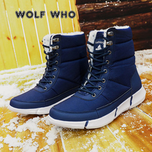 WOLF 누가 큰 Size 36-48 Winter Men Boots Male Casual Fahsion 방수 눈 Boots 와 퍼 Keep Warm 하이킹 Ankle Boots X-170(China)