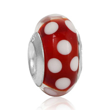 High Quality Silver Plated Bead Charm White Dot Red Lampwork Murano Glass Beads Fit Pandora Bracelet Bangle DIY Jewelry(China)