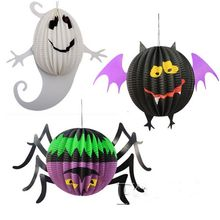 Halloween Paper Lanterns Spiders Bat Ghost Shape Hanging Ornaments Party Scene Layout  COS Play Decorations Art Paper